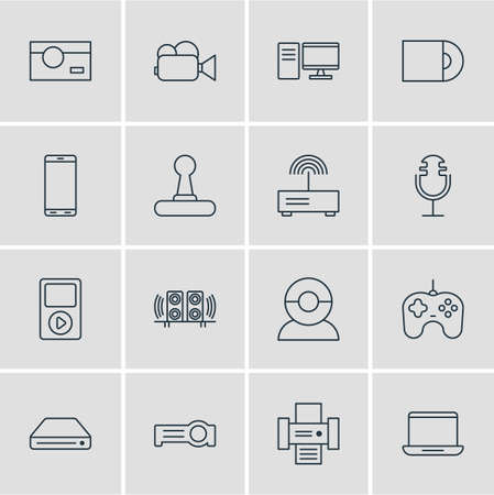 illustration of 16 accessory icons line style. Editable set of joystick, laptop, speakers and other icon elements. Imagens