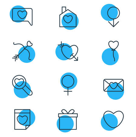 Vector illustration of 12 love icons line style. Editable set of find, date, bow and other icon elements. 矢量图像