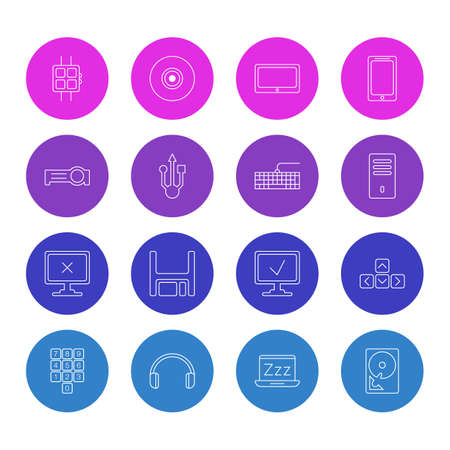 Vector illustration of 16 laptop icons line style. Editable set of keyboard, smartwatch, floodlight and other icon elements.