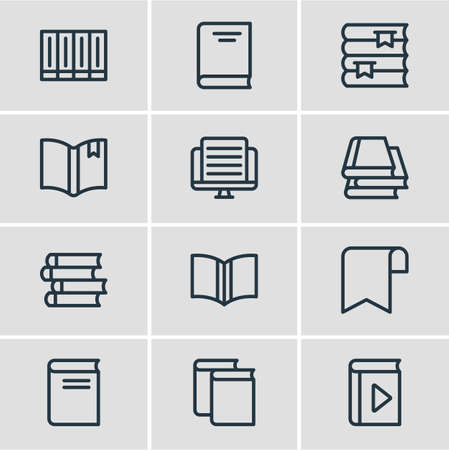 Vector illustration of 12 read icons line style. Editable set of publish, ribbon, learning and other icon elements.