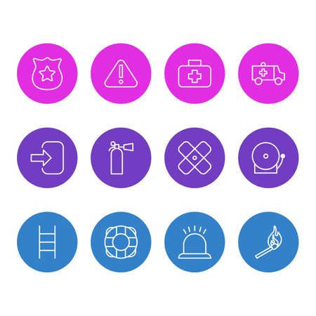 illustration of 12 extra icons line style. Editable set of first aid box, siren, match and other icon elements. Stock Photo