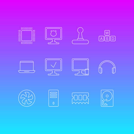 Vector illustration of 12 laptop icons line style. Editable set of cpu, ram, protected PC and other icon elements. Illustration