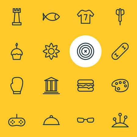 Vector illustration of 16 entertainment icons line style. Editable set of chess, flower, burger and other icon elements. Illustration