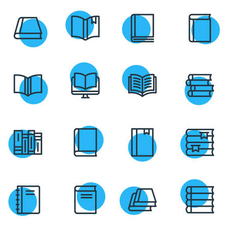 illustration of 16 education icons line style. Editable set of tutorial, notepad, publish and other icon elements.