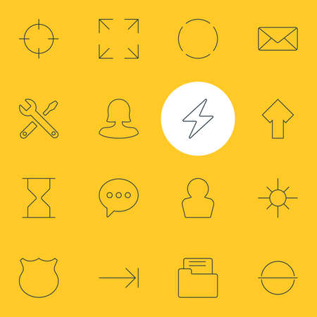 Vector illustration of 16 UI icons line style. Editable set of shield, arrow, repair and other icon elements. Illustration