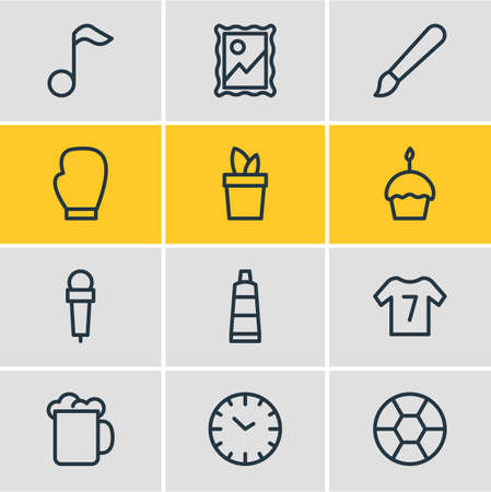 illustration of 12 lifestyle icons line style. Editable set of mic, uniform, picture and other icon elements. Stock Photo