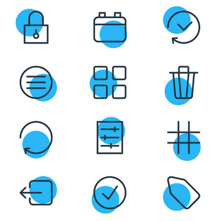 Vector illustration of 12 application icons line style. Editable set of refresh, grid, padlock and other icon elements. 向量圖像