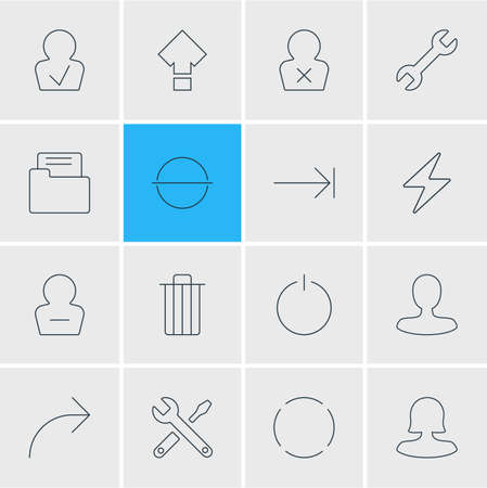 Vector illustration of 16 user icons line style. Editable set of woman member, male user, publish and other icon elements.
