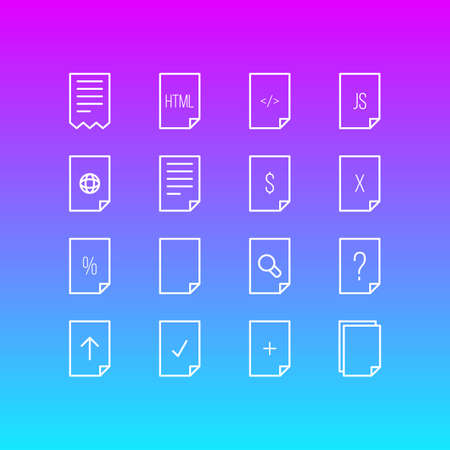 illustration of 16 paper icons line style. Editable set of empty, add, file and other icon elements.