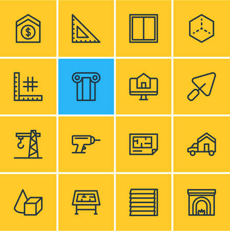 Vector illustration of 16 construction icons line style. Editable set of crane, figures, plan and other icon elements.