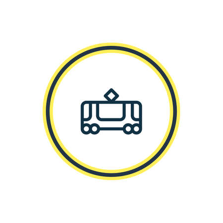 Vector illustration of tram icon line. Beautiful vehicle element also can be used as tramway icon element.