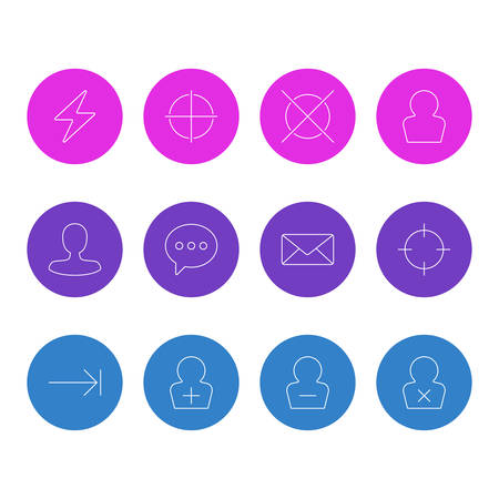 Vector illustration of 12 user icons line style. Editable set of tab key, screenshot, add user and other icon elements.