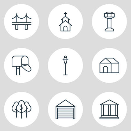 Vector illustration of 9 public icons line style. Editable set of tree, bridge, academy and other icon elements.