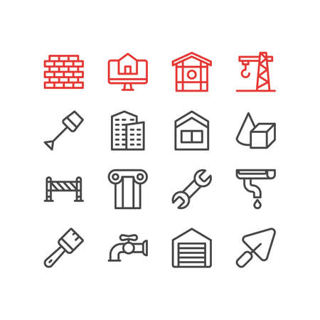 Vector illustration of 16 construction icons line style. Editable set of shovel, building, framing and other icon elements.