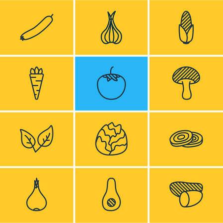 Illustrazione vettoriale di 12 icone di verdure in stile linea. Insieme modificabile di pomodoro, cipolla, avocado e altri elementi dell'icona. Vettoriali