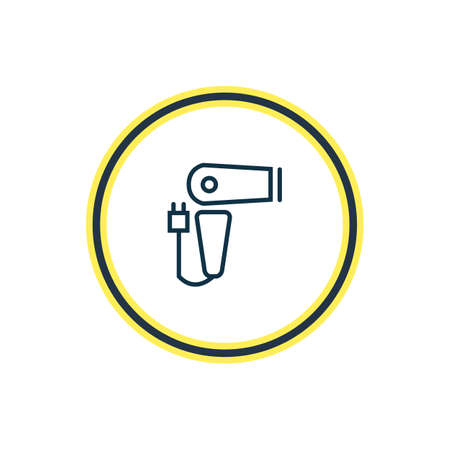 Vector illustration of hairdryer icon line. Beautiful travel element also can be used as blow dryer icon element.