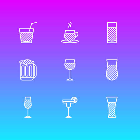 Vector illustration of 9 beverage icons line style. Editable set of soda, cappuccino, water glass and other icon elements.