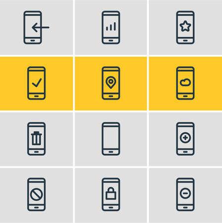 Vector illustration of 12 telephone icons line style. Editable set of trash, locked, remove and other icon elements.
