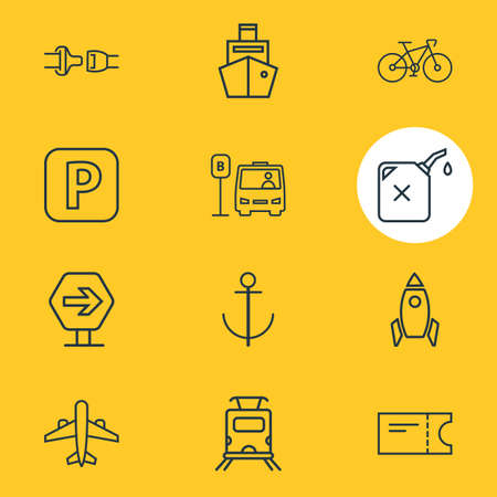 Vector illustration of 12 carrying icons line style. Editable set of gas can, subway train, road sign and other icon elements.