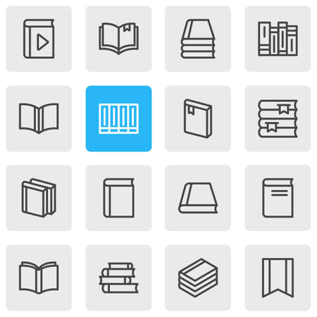 illustration of 16 book icons line style. Editable set of publication, learning, bookmark and other icon elements.