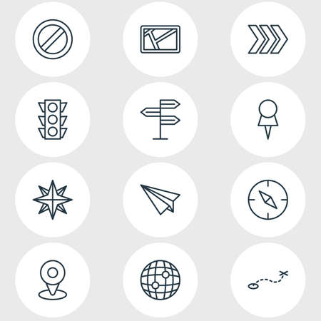 Ilustración de vector de estilo de línea de 12 iconos de navegación. Conjunto editable de poste indicador, pin, ruta y otros elementos de icono.