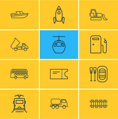 Vector illustration of 12 carrying icons line style. Editable set of bulldozer, rubber boat, space vehicle and other icon elements. Illustration