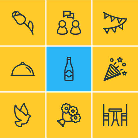 Vector illustration of 9 events icons line style. Editable set of champagne, bouquet, confetti and other icon elements.