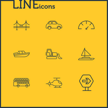 Vector illustration of 9 transportation icons line style. Editable set of boat, bulldozer, bridge and other icon elements.