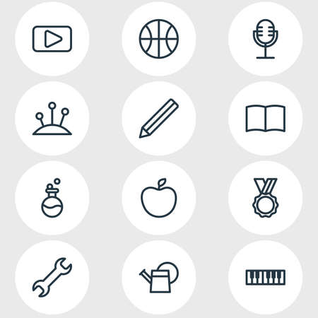 Vector illustration of 12 entertainment icons line style. Editable set of apple, book, flask and other icon elements.