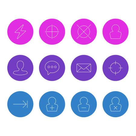 illustration of 12 interface icons line style. Editable set of tab key, screenshot, add user and other icon elements.