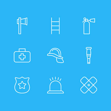 Vector illustration of 9 necessity icons line style. Editable set of first aid box, extinguisher, plaster and other icon elements.