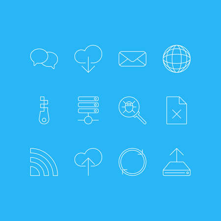 illustration of 12 network icons line style. Editable set of database, zip, chat and other icon elements.