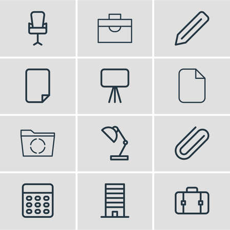 Vector illustration of 12 office icons line style. Editable set of reload, briefcase, clip and other icon elements.