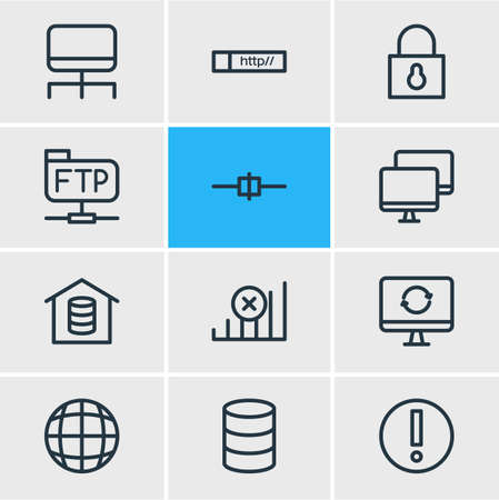 Vector illustration of 12 network icons line style. Editable set of software, root server, hosting and other icon elements.