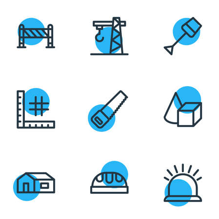 Vector illustration of 9 architecture icons line style. Editable set of barrier, saw, figures and other icon elements. Illustration