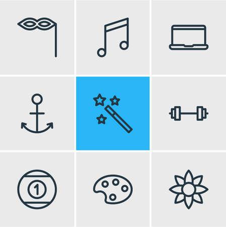 Vector illustration of 9 joy icons line style. Editable set of anchor, magic wand, mask icon elements.