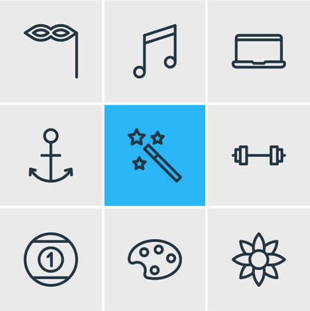 Vector illustration of 9 joy icons line style. Editable set of anchor, magic wand, mask icon elements.