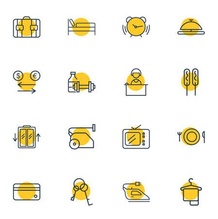 Illustration vectorielle de 16 style de ligne d'icônes de vacances. Ensemble modifiable de clés, de fer, d'ascenseur et d'autres éléments d'icône. Vecteurs