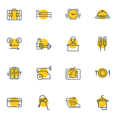 Vector illustration of 16 vacation icons line style. Editable set of keys, iron, elevator and other icon elements. Vectores