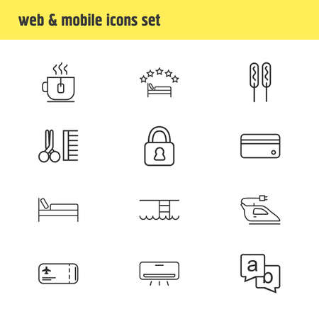 Vector illustration of 12 travel icons line style. Editable set of swimming pool, iron, 5-star hotel and other icon elements.