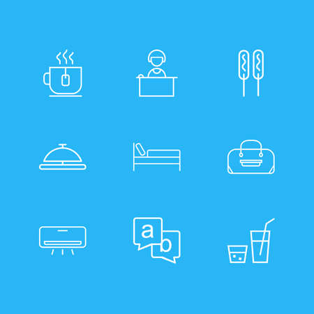 illustration of 9 travel icons line style. Editable set of reception girl, air conditioner, bed and other icon elements.
