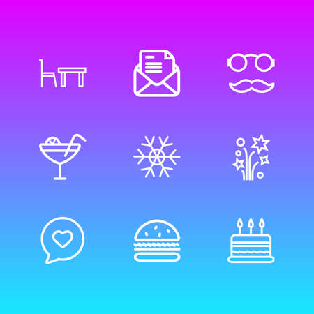illustration of 9 celebration icons line style. Editable set of snowflake, dining table, cake and other icon elements.