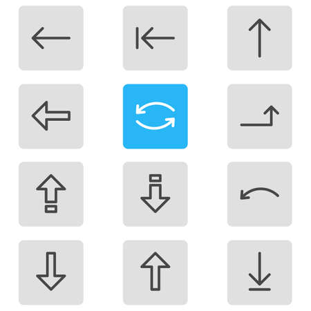 illustration of 12 direction icons line style. Editable set of down, backspace, up and other icon elements. Stock Photo