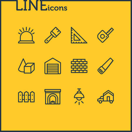 illustration of 12 industry icons line style. Editable set of figures, garage, lamp and other icon elements.