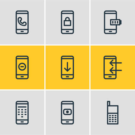 Vector illustration of 9 telephone icons line style. Editable set of remove, locked, camera and other icon elements. Ilustrace