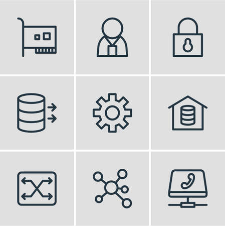 Vector illustration of 9 network icons line style. Editable set of data, administrator, security and other icon elements.