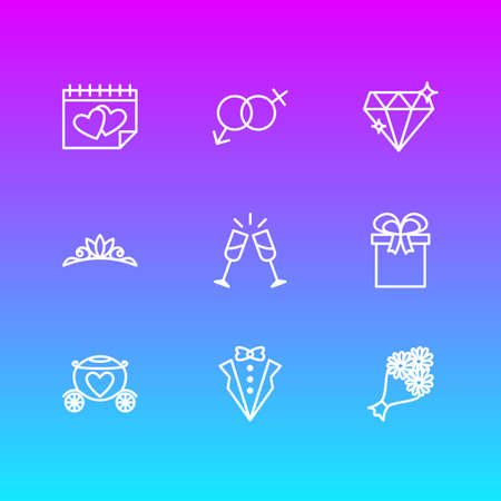 Vector illustration of 9 engagement icons line style. Editable set of marriage day, diamond, groom suit and other icon elements.