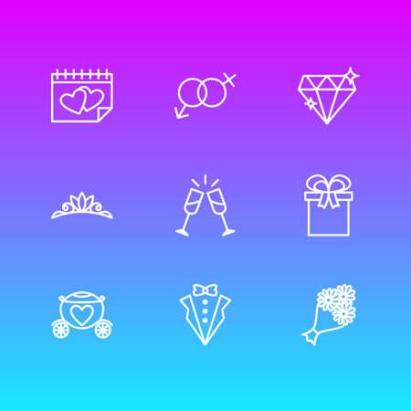 Vektorillustration von 9 Verlobungssymbolen-Linienstil. Bearbeitbarer Satz von Hochzeitstag, Diamant, Bräutigamanzug und anderen Symbolelementen. Vektorgrafik