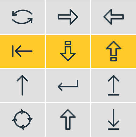 illustration of 12 direction icons line style. Editable set of upload, left, enter and other icon elements.