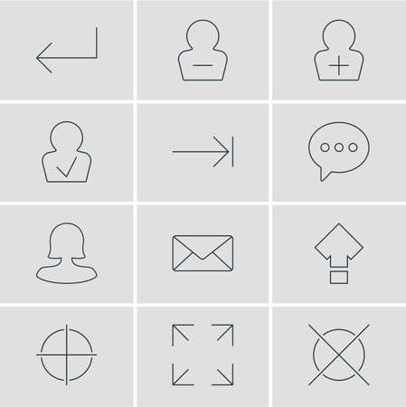 Vector illustration of 12 UI icons line style. Editable set of letter, woman member, tab key and other icon elements.